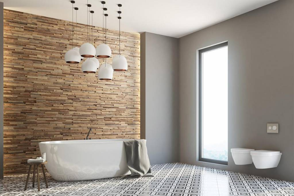 Salle de bain avec revêtements muraux modernes
